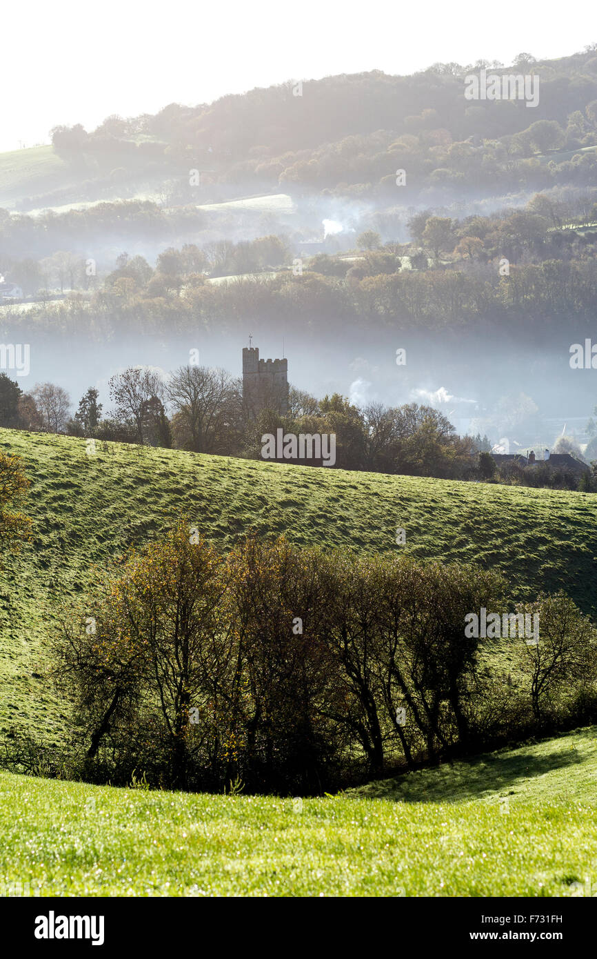 dunsford church in morning mist,teign valley,Dunsford,dartmoor national park,devon lane,tarmac.winter,solitary,field, - Stock Image