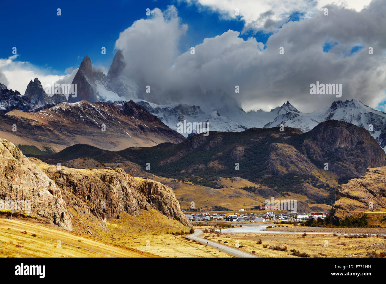El Chalten is a small town near the mount Fitz Roy; the trekking capital of Argentina - Stock Image