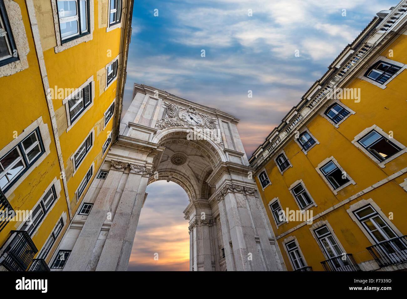 Triumphal Arch in the Rua Augusta, Lisbon, Portugal - Stock Image