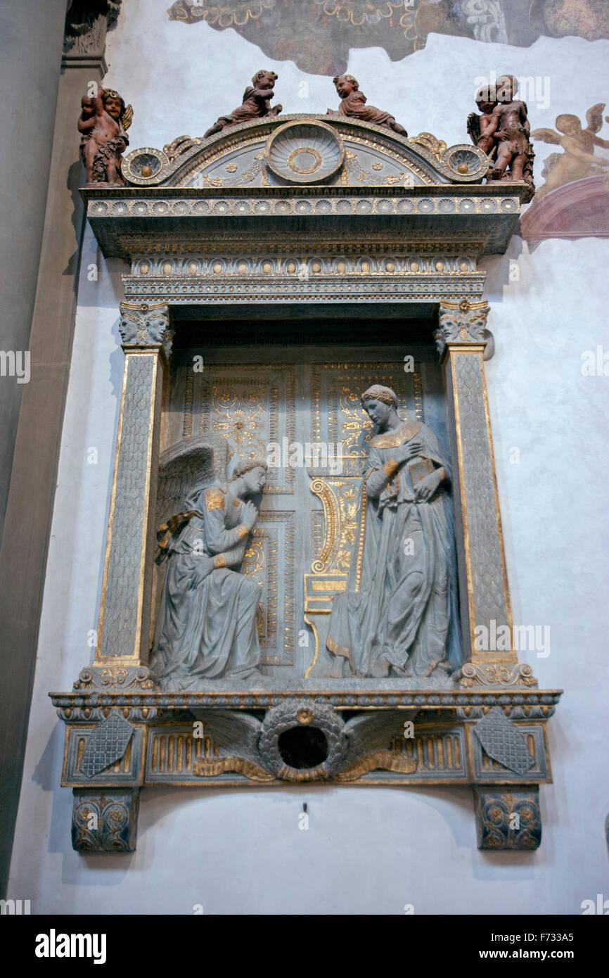 Donatello, Annunciation 1435 Florence, Santa Croce - Stock Image