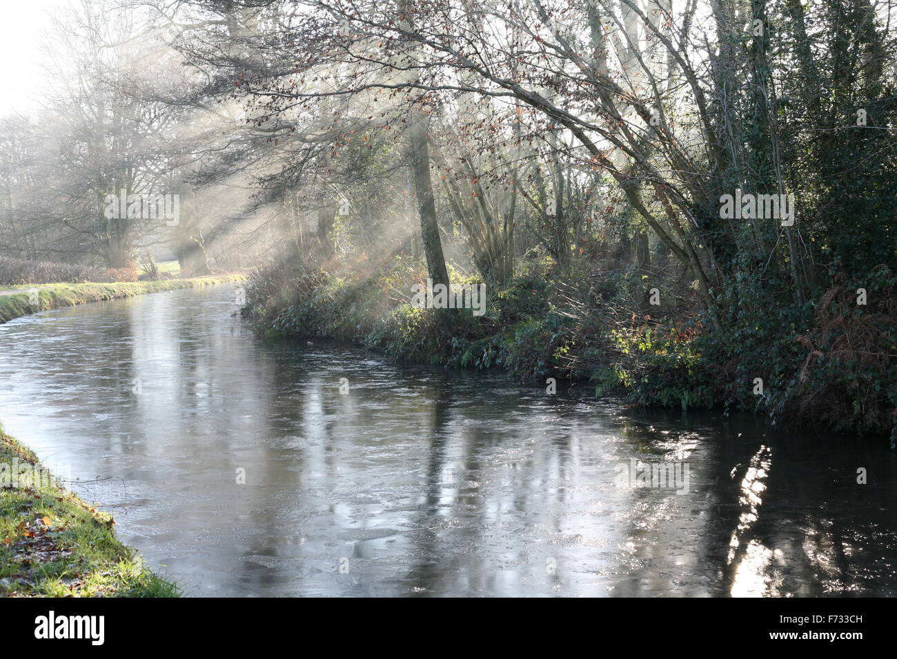 Early morning on the Monmouthshire Brecon canal.The water is frozen and sunlight filters through the mist. Stock Photo