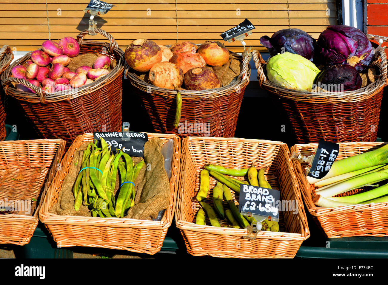 A lovely, outside shop display of good quality produce in Rhos-on-Sea in North Wales. - Stock Image