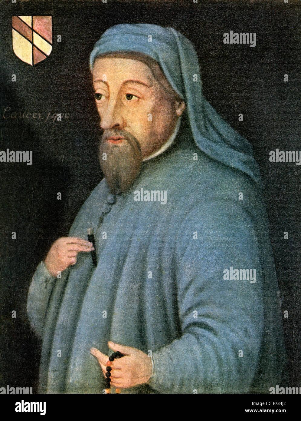 Geoffrey Chaucer, c.1343 –1400, aka the Father of English literature.   English author, poet, philosopher, bureaucrat, - Stock Image