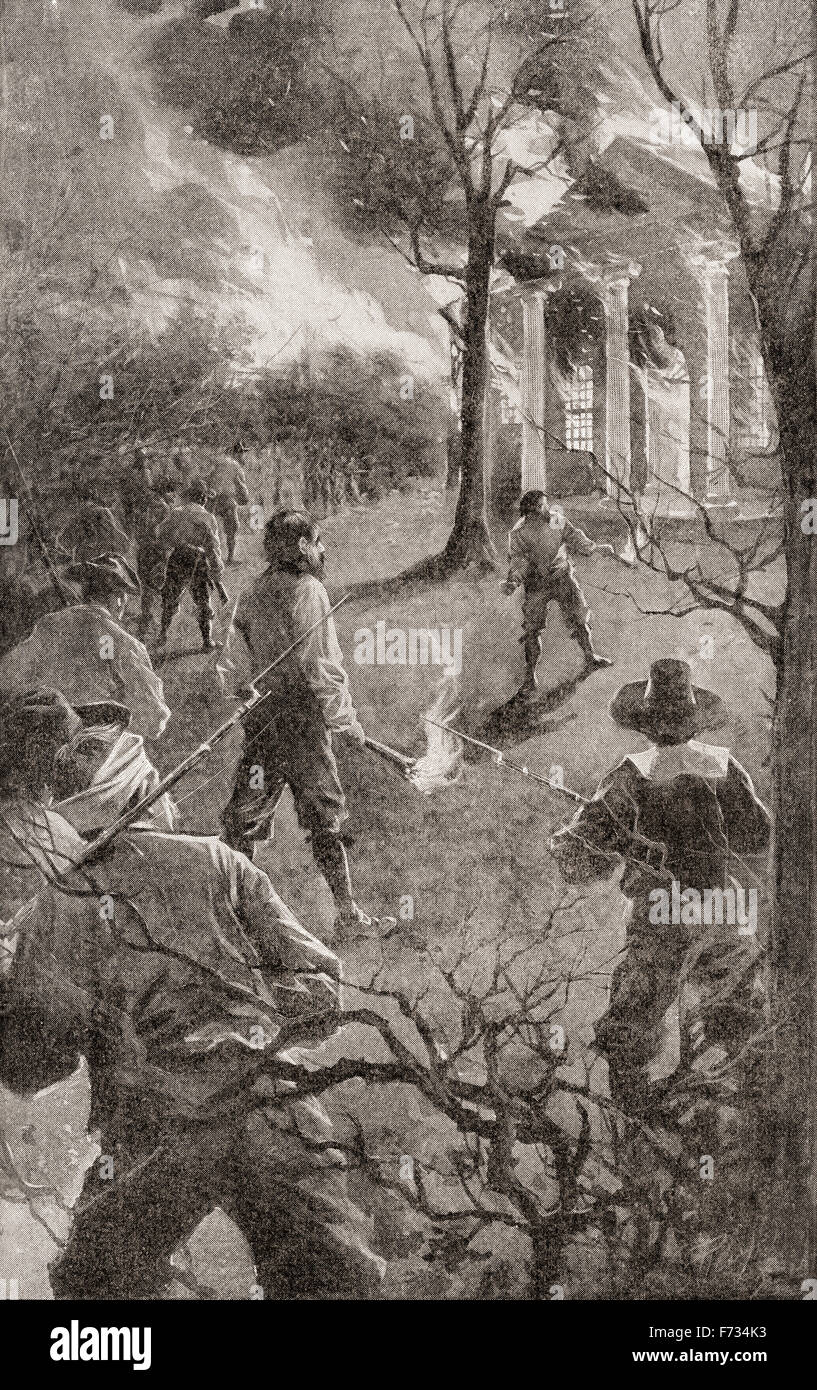 The burning of Jamestown, Colony of Virginia, America, during Bacon's  Rebellion, an armed rebellion in 1676 by Virginia settlers led by Nathaniel  Bacon ...