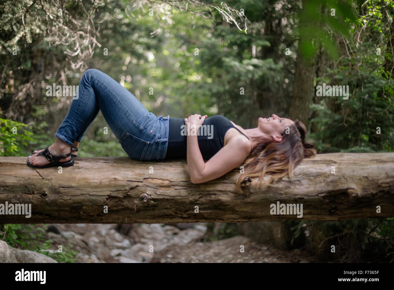 Woman lying on her back on a tree in a forest. - Stock Image