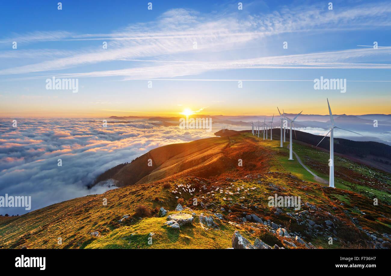 wind turbines in the Oiz eolic park - Stock Image