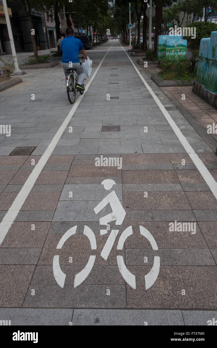 bike lane taipei - Stock Image