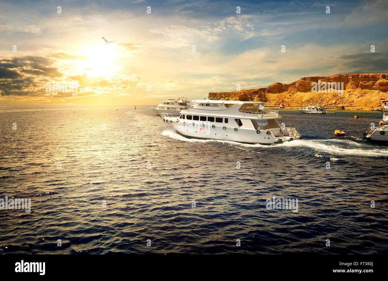 White yachts in Red sea at the sunset - Stock Image