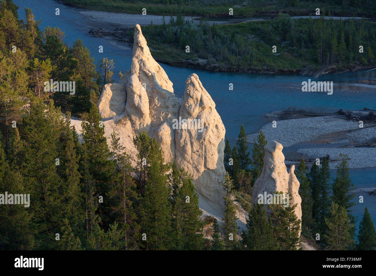 Earth pyramids / Hoodoos in the Bow Valley, Banff National Park, Alberta, Rocky Mountains, Canada - Stock Image