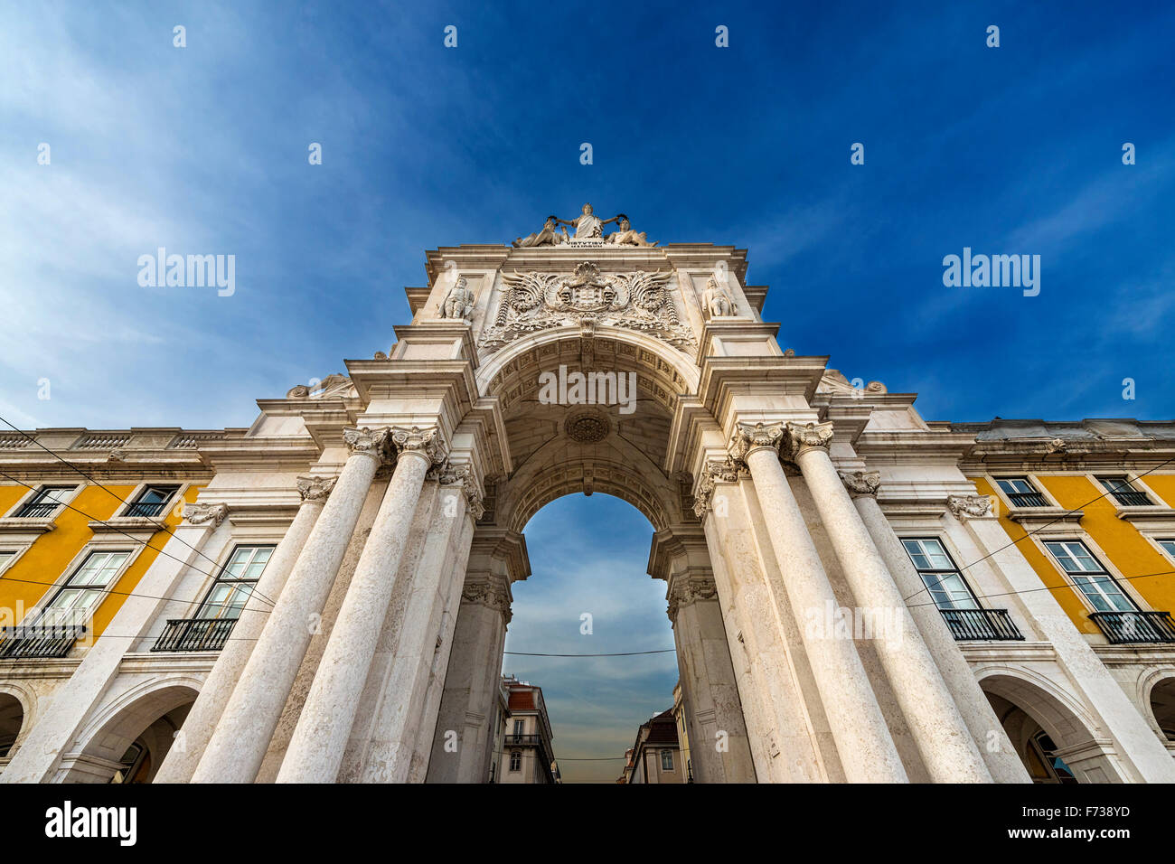 Detail of the Triumphal Arch in the Praca do Comercio in Lisbon, Portugal - Stock Image