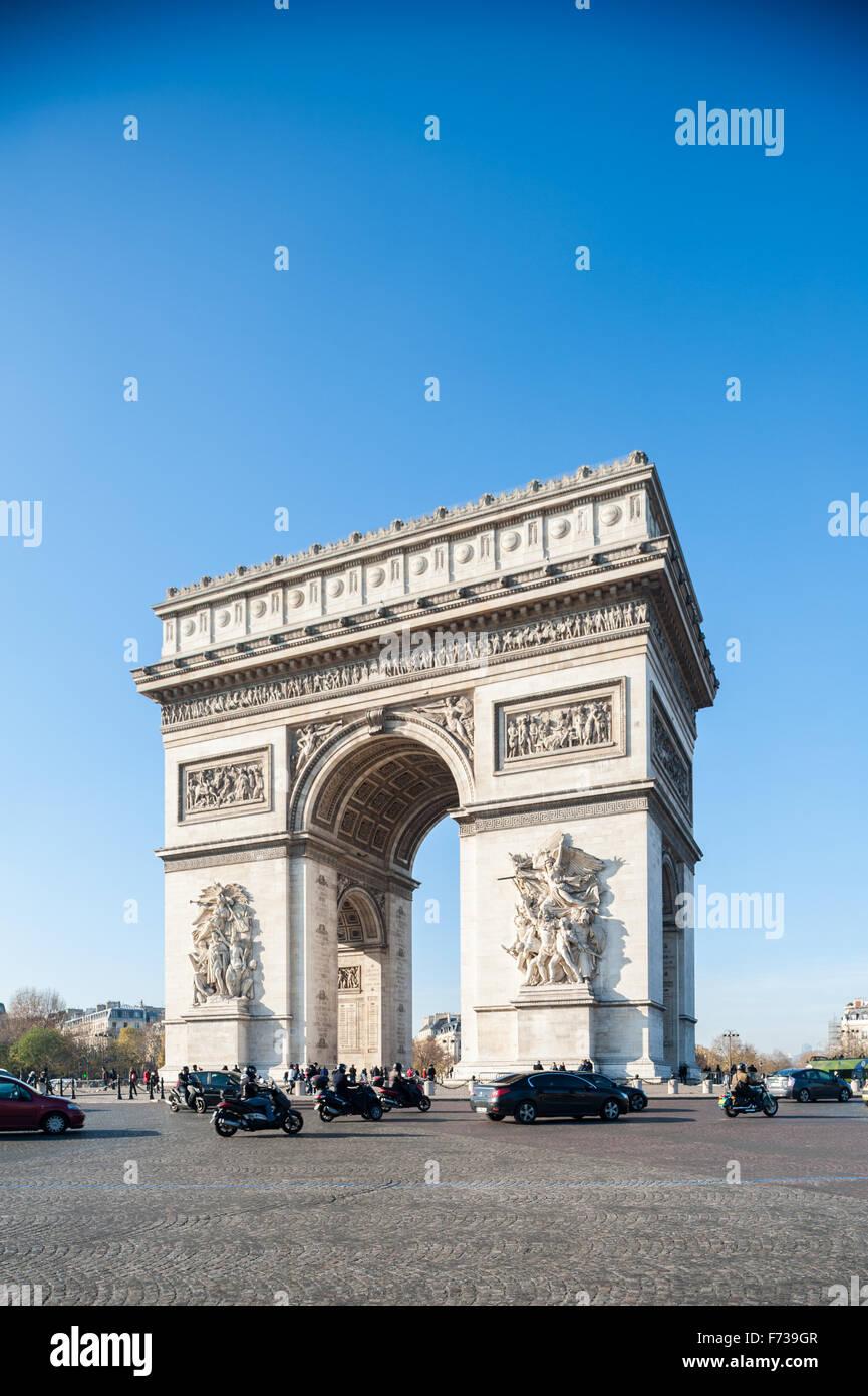 France, Paris, Arc de triomphe de l'etoile - Stock Image