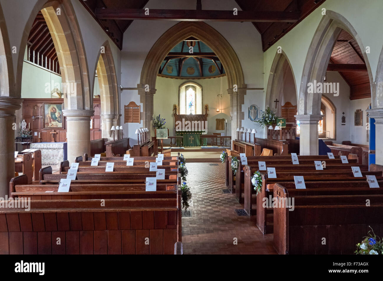 Interior of the Saint Cosmas and Saint Damian Church in the village of Keymer, West Sussex England United Kingdom - Stock Image