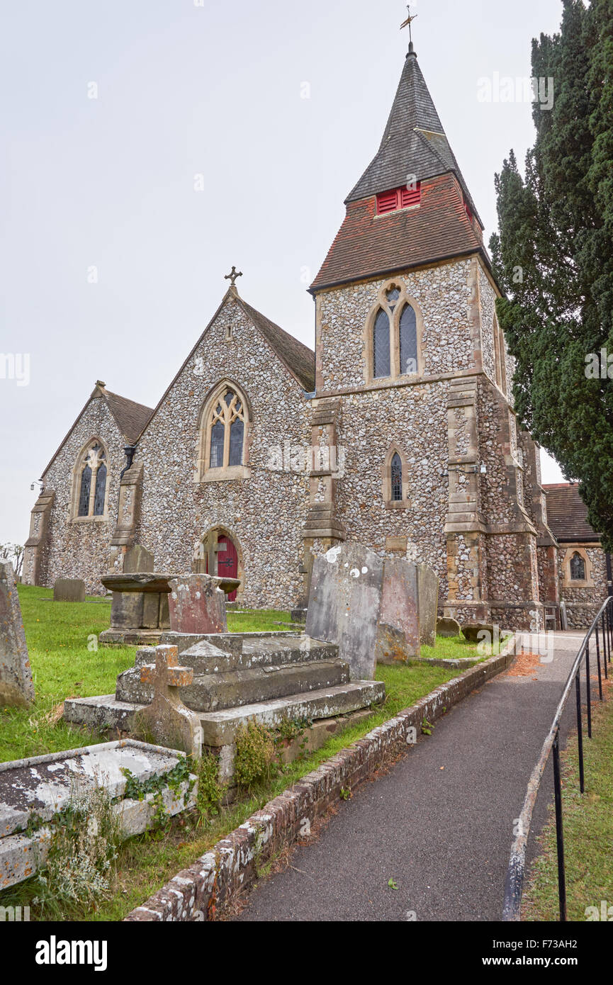 Saint Cosmas and Saint Damian Church in the village of Keymer, West Sussex England United Kingdom UK - Stock Image