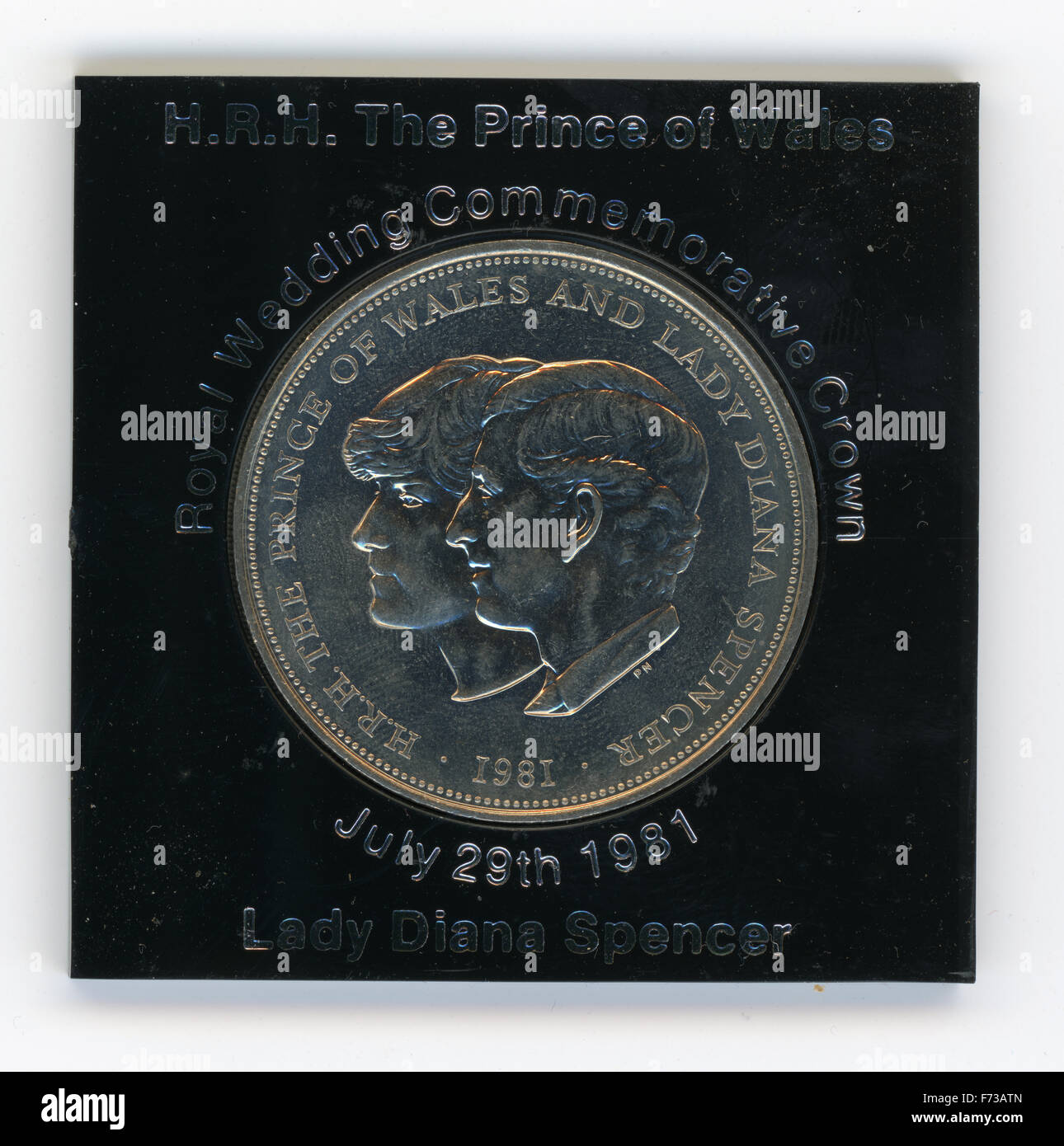 A 1981 commemorative coin for the wedding of Prince Charles and Lady Diana - Stock Image