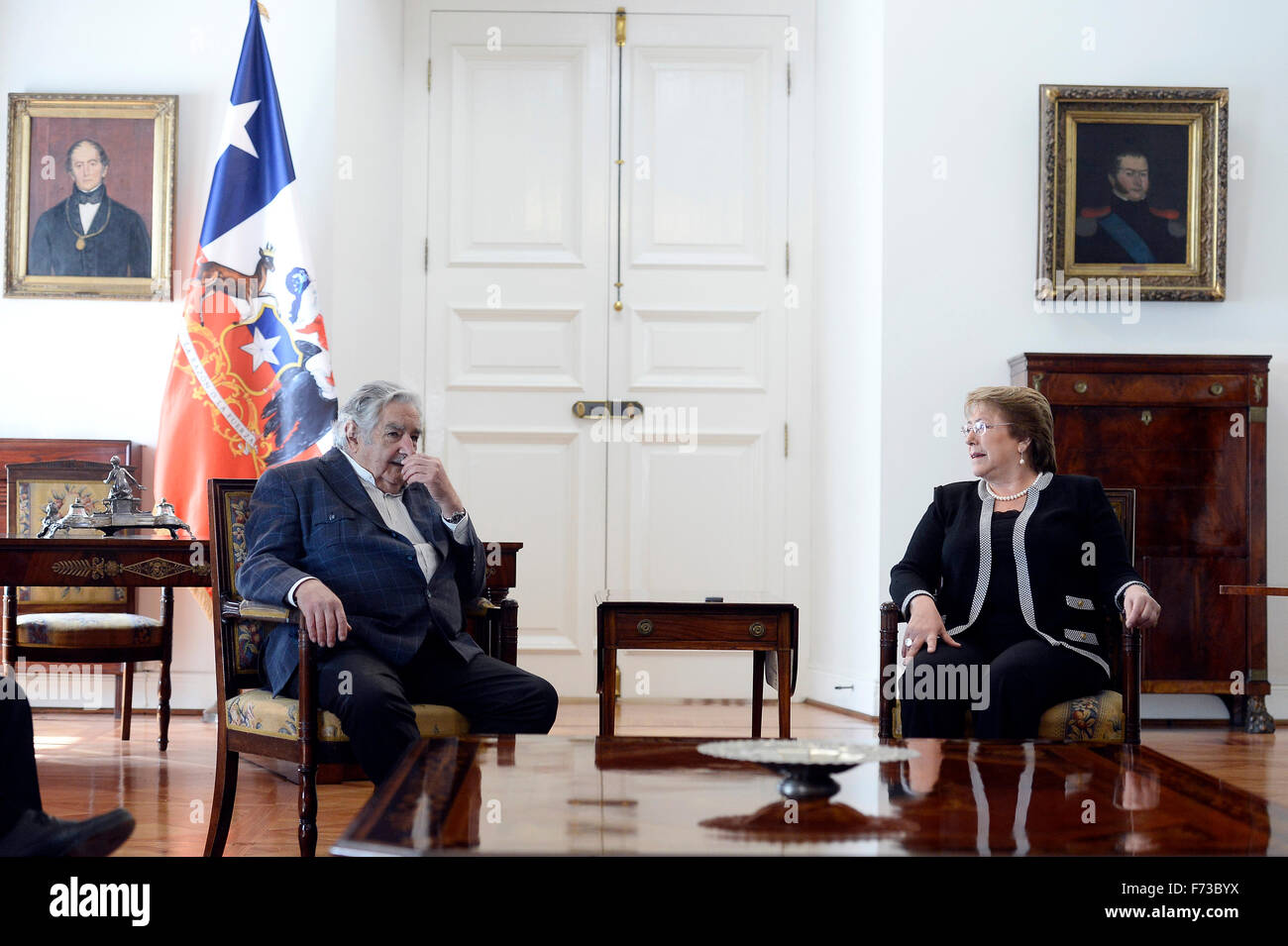 Santiago, Chile. 24th Nov, 2015. Image provided by Chile's Presidency shows Chilean President Michelle Bachelet - Stock Image
