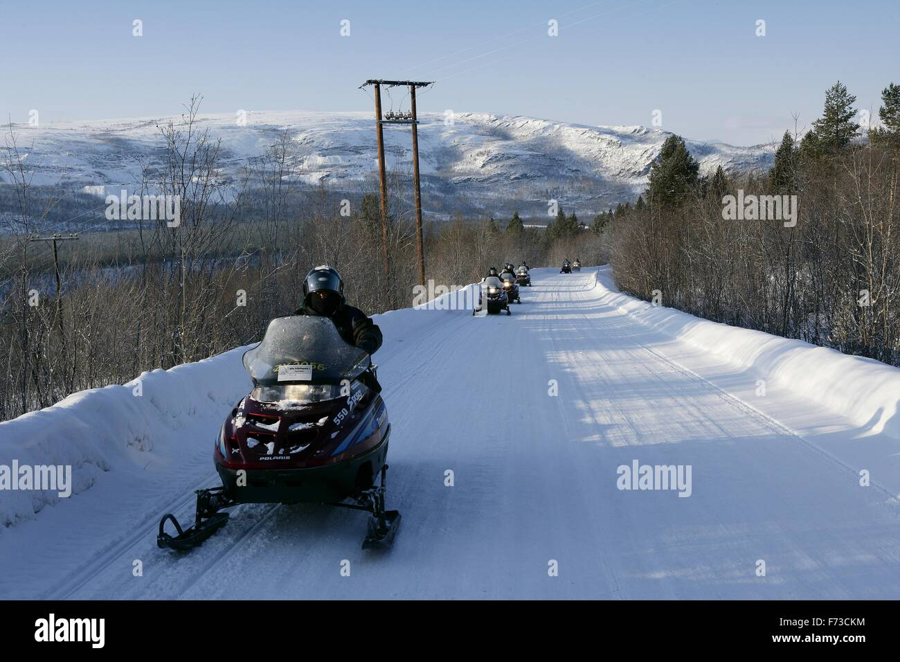snowmobile safari in the area around Tromso - Stock Image
