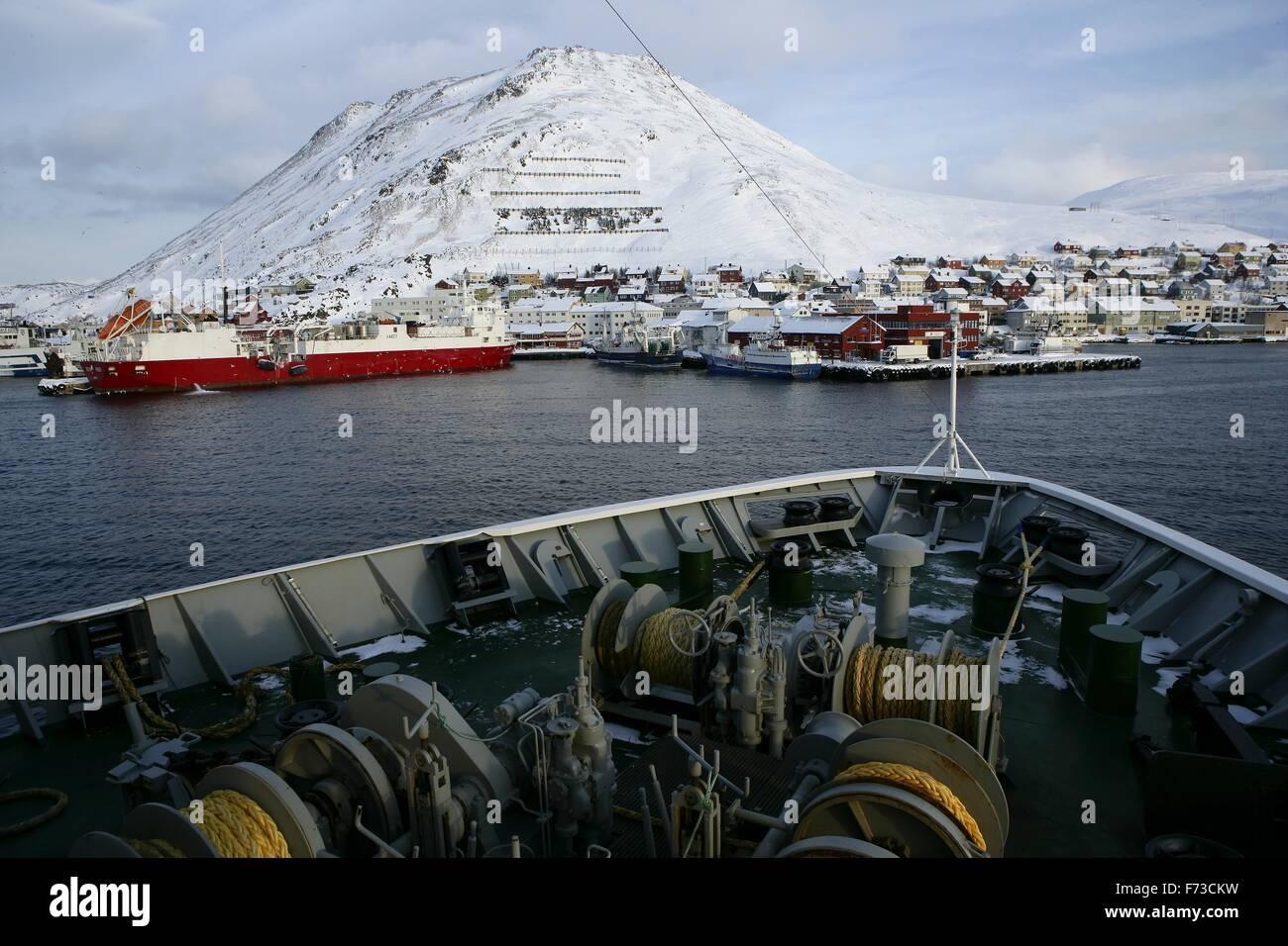 Honningsvåg  is the northernmost city on the mainland of Norway. It is located in Nordkapp Municipality in - Stock Image