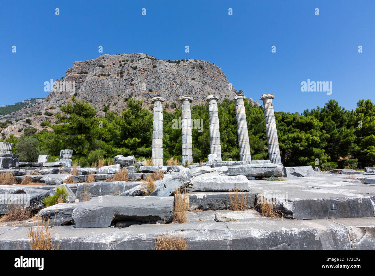 Temple of Athena, Priene an ancient Greek city of Ionia at the base of an escarpment of Mycale. - Stock Image