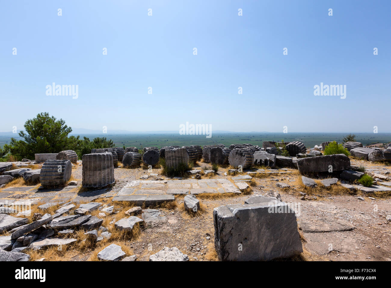 Remains of columns of the Temple of Athena with was to be the sea. Priene an ancient Greek city of Ionia - Stock Image