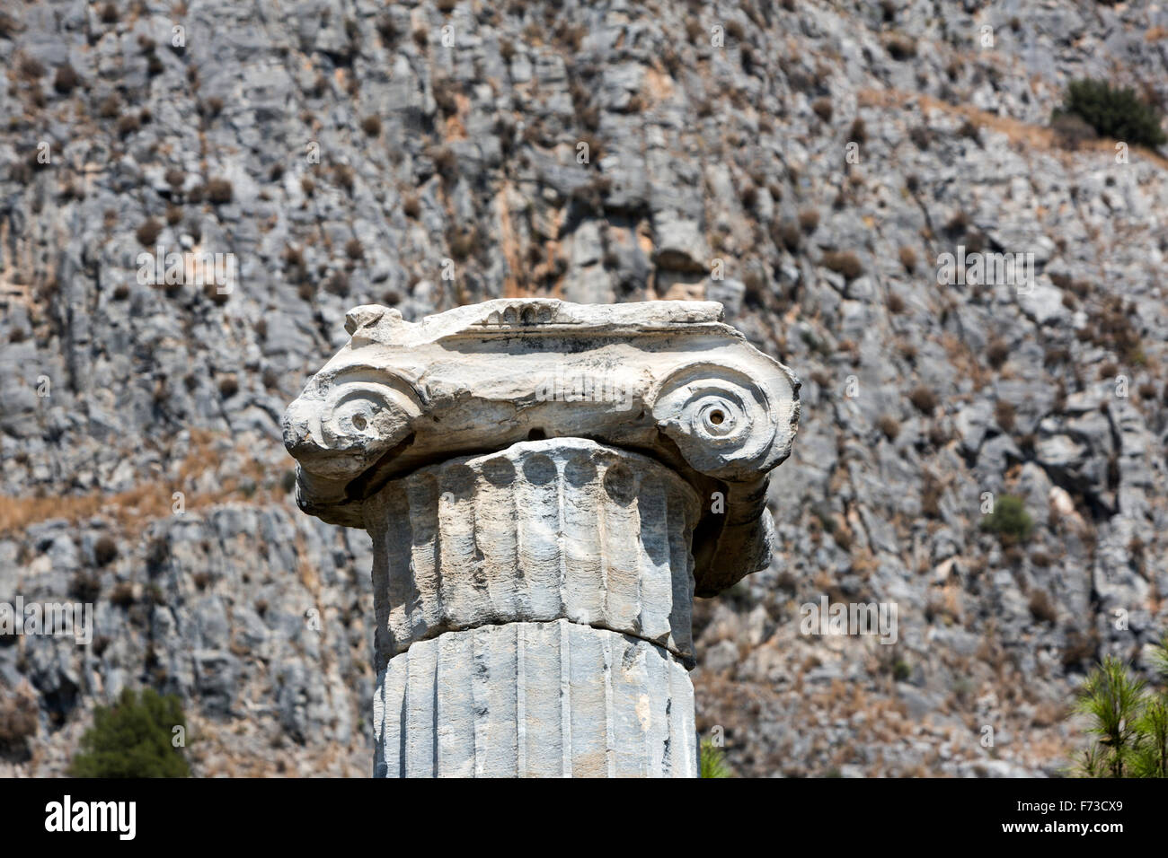 Ionic column of the Temple of Athena. Priene an ancient Greek city of Ionia at the base of an escarpment of Mycale. - Stock Image