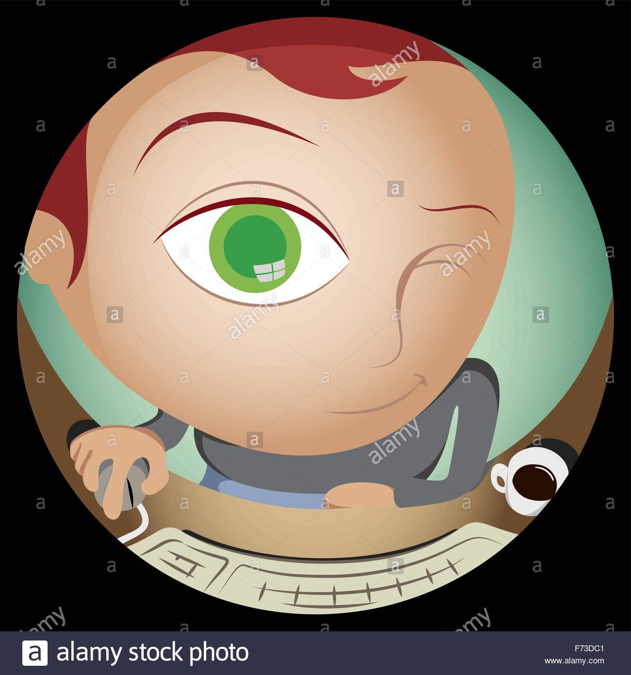 Geek in Fish Eye Chat - Stock Vector