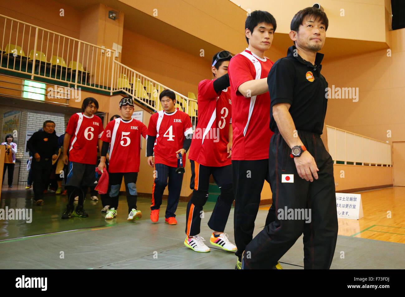 NOVEMBER 21, 2015 - Goalball : 2015 Japan Goalball Championships Preliminary round match between Kokureha Men's Team Kaminari - IBK at Ohme City general gymnasium, Tokyo, Japan. © Shingo Ito/AFLO SPORT/Alamy Live News Stock Photo