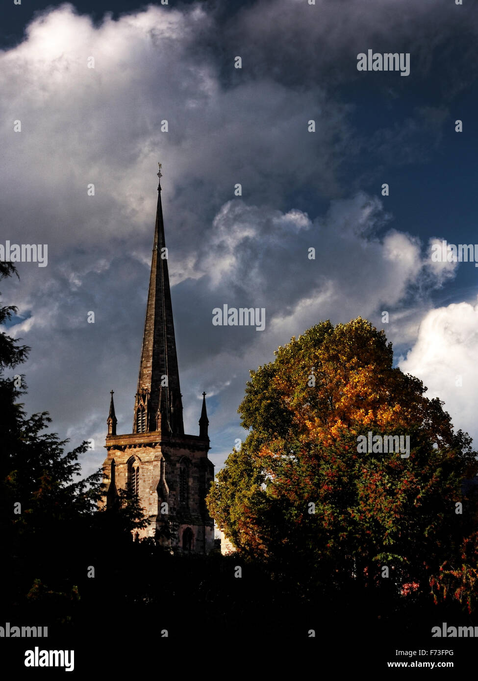 St. Peter's is the older of the two remaining medieval parish churches in the City of Hereford, England - Stock Image