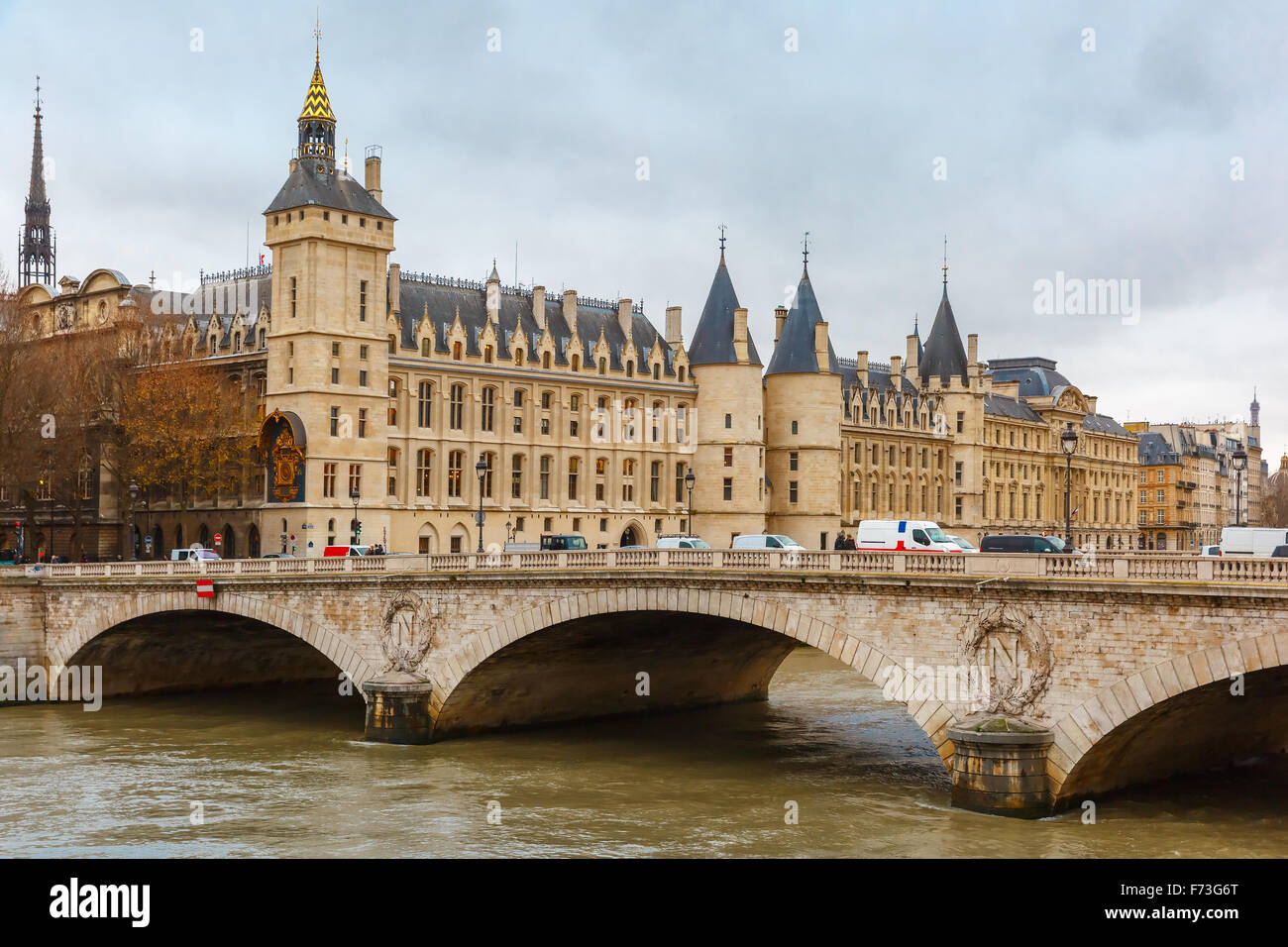 River Seine and the Conciergerie in Paris, France - Stock Image