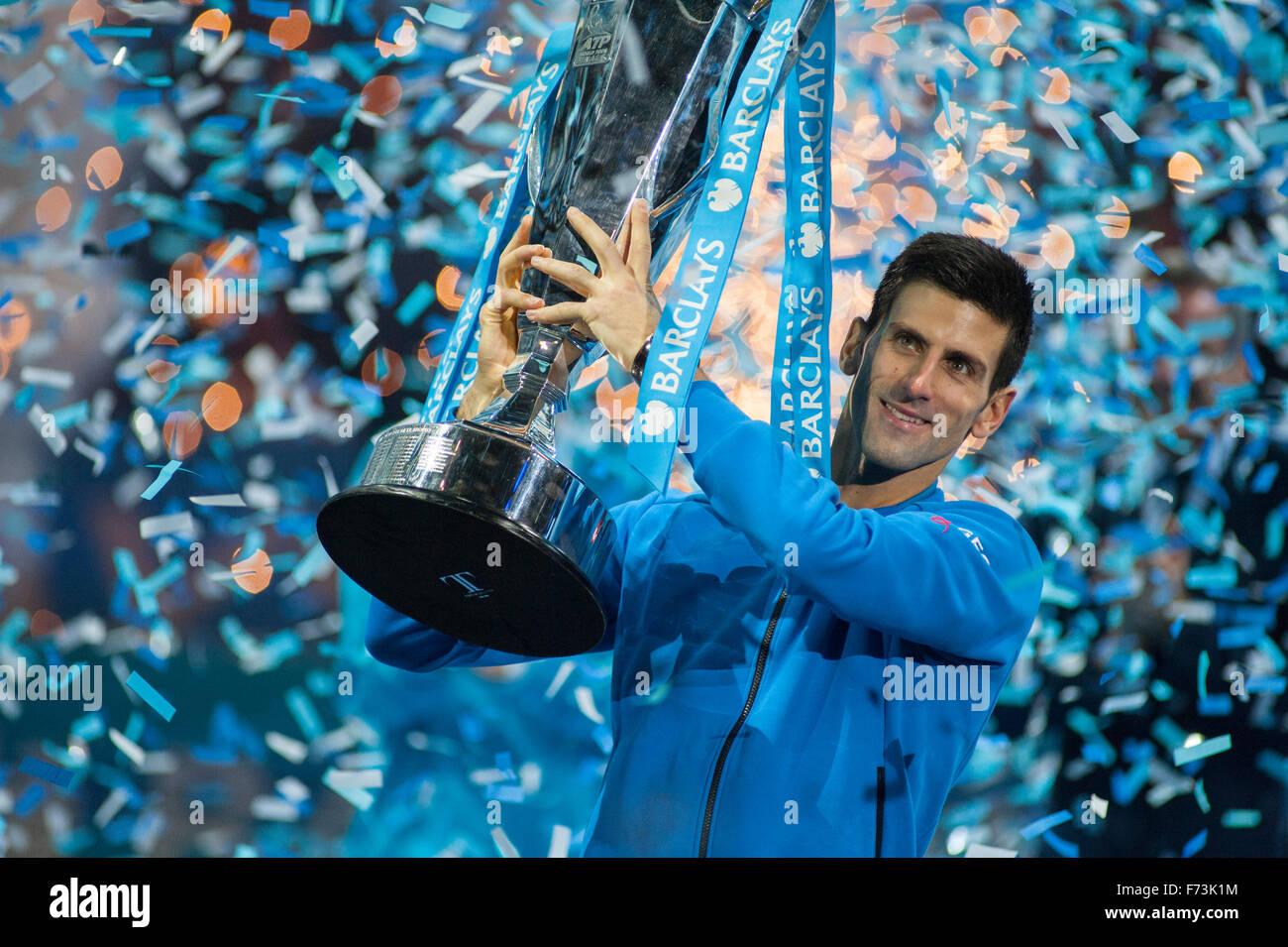 Barclays ATP World Tour Finals 2015. Novak Djokovic defeats Roger Federer to take the Winners' Trophy. - Stock Image