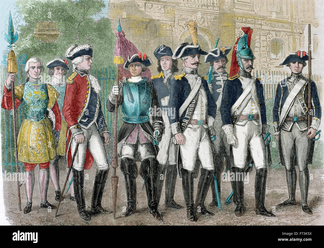 Soldiers of the National Guard during the French Revolution. Engraving, 19th century. Colored. - Stock Image