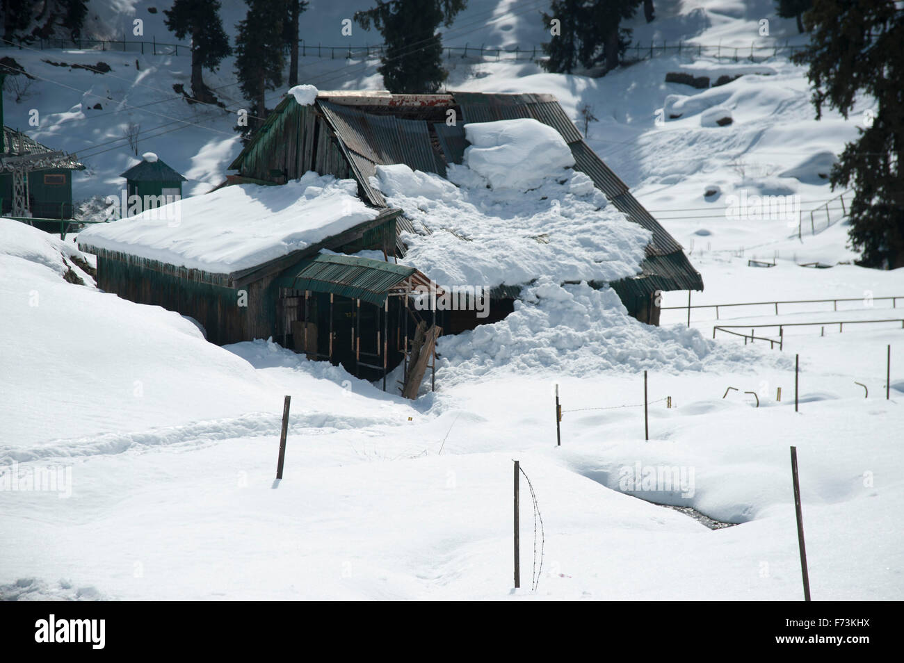 House collapse in snowfall, gulmarg, kashmir, india, asia - Stock Image
