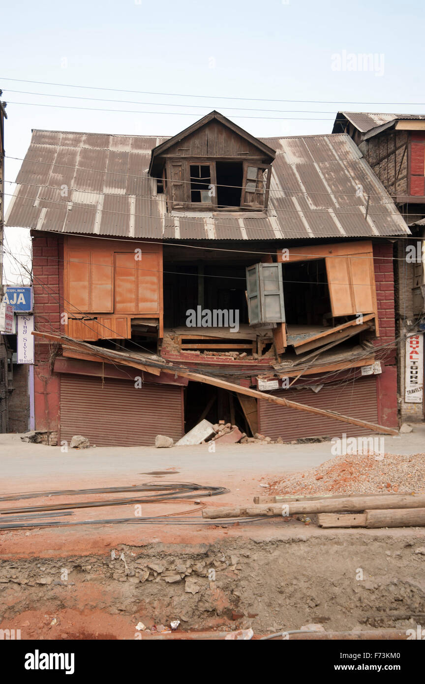 House collapse floods, srinagar, kashmir, india, asia - Stock Image