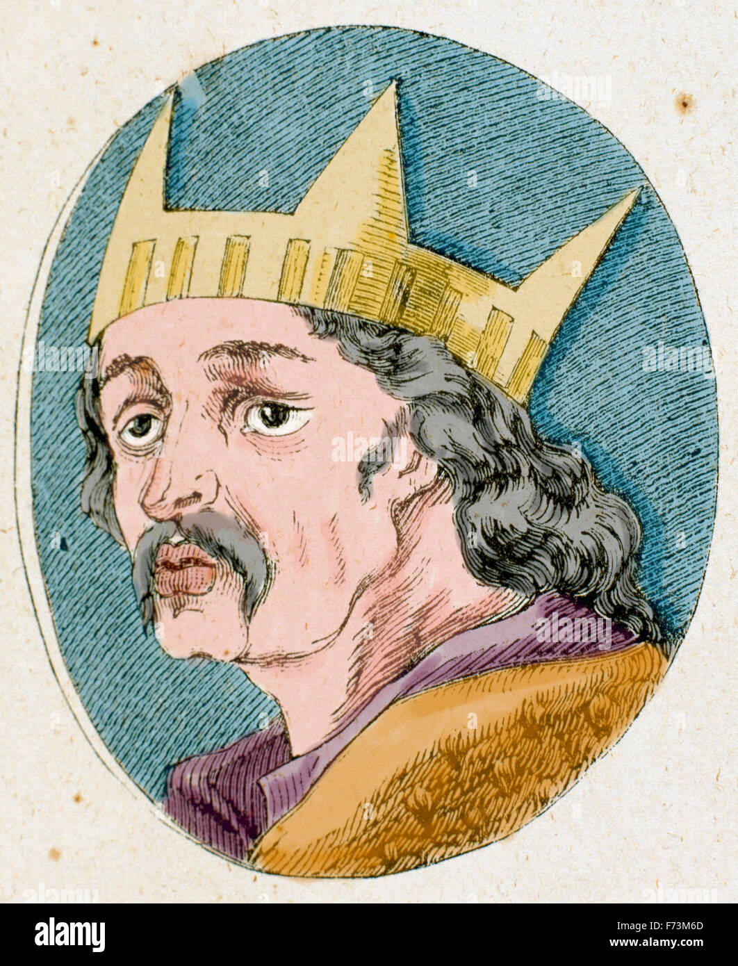 Alfons VI of Leon and Castile (1040-1109). Nicknamed The Brave or the Valiant. Portrait. Engraving. Colored. Stock Photo
