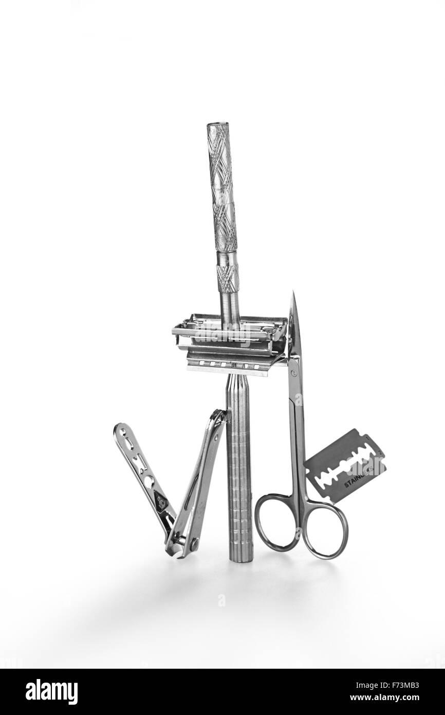 Balancing of razor, blade, scissor - Stock Image