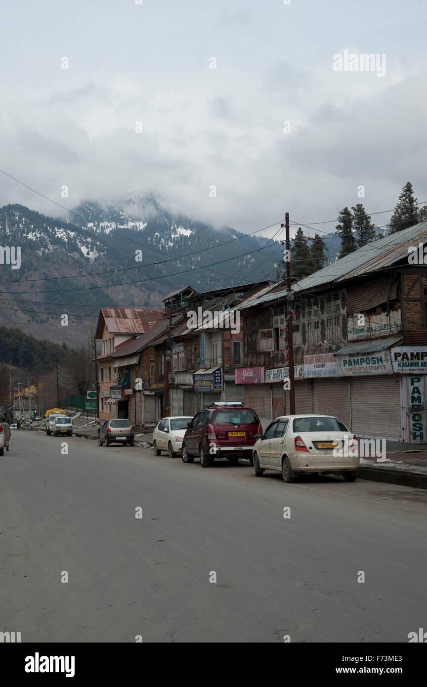 Mall road, pahalgam, kashmir, india, asia - Stock Image