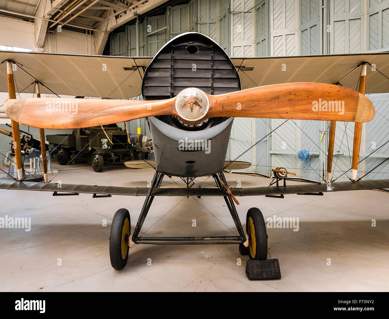 Front of old Bristol F2b WWI fighter aircraft in Duxford museum - Stock Image