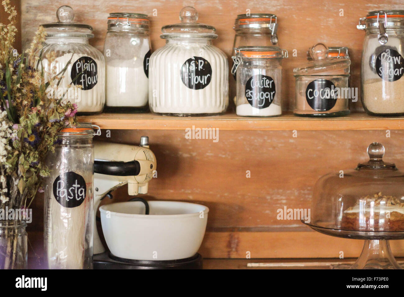 Baking Ingredients Displayed On An Antique Kitchen Hutch. A Stylish Way To  Store Your Staples Like Flour, Sugar, Pasta Etc.