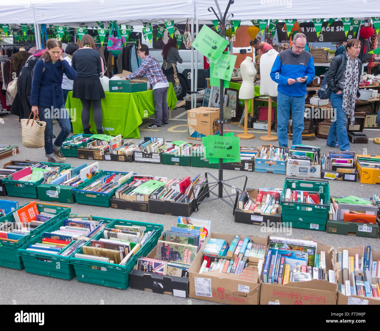 Oxfam stall at Thrift festival at Lingfield Point, Darlington. UK - Stock Image