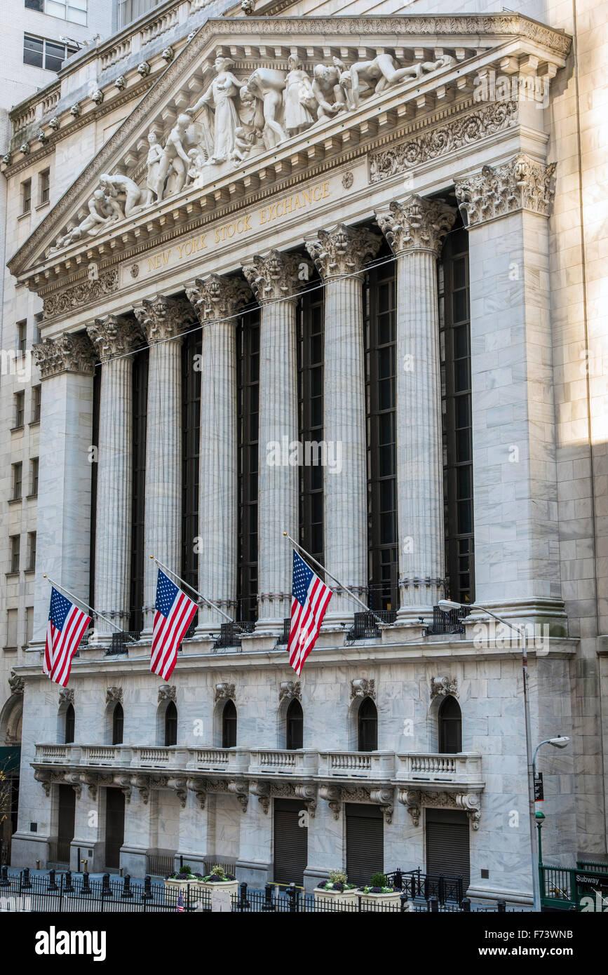 New York Stock Exchange, Wall Street, Lower Manhattan, New York, USA - Stock Image