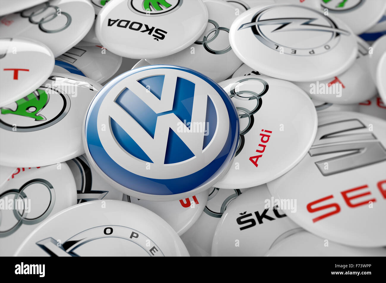 3D illustration of all car manufacturers involved in the pollution emissions scandal. - Stock Image
