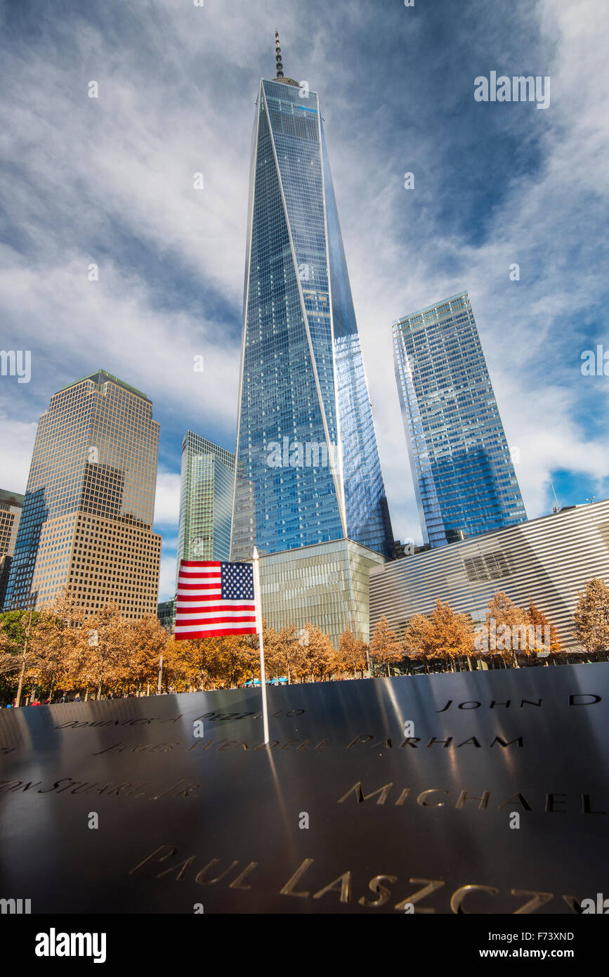 National September 11 Memorial & Museum with One World Trade Center or Freedom Tower behind, Lower Manhattan, - Stock Image