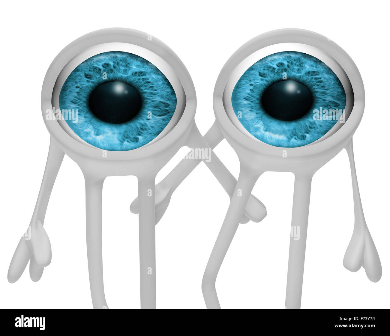 3d image of cartoon two eyes - Stock Image