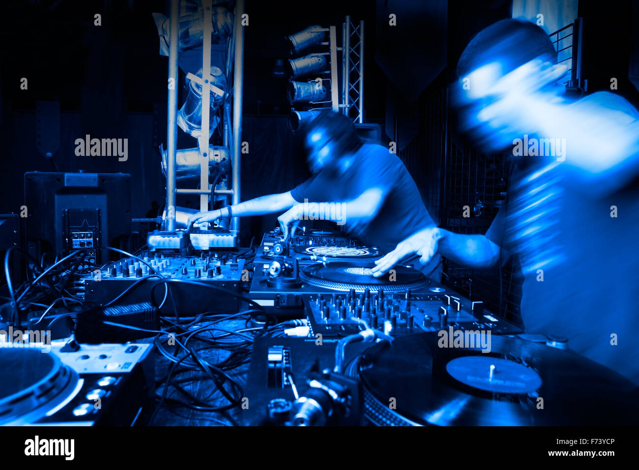 Image of two disc-jockey with several mixers - Stock Image
