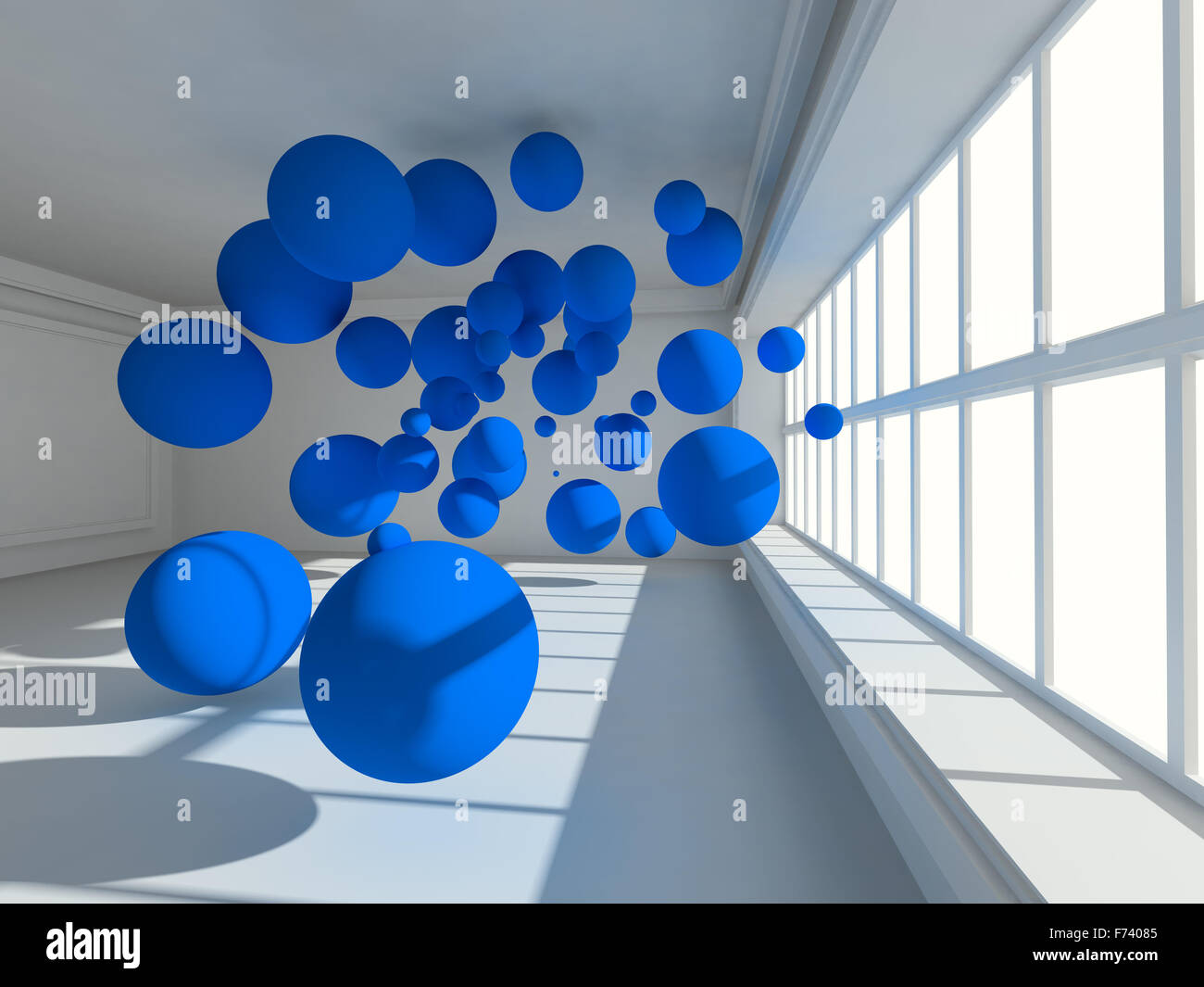 Surreal Empty interior 3d image with floating spheres - Stock Image
