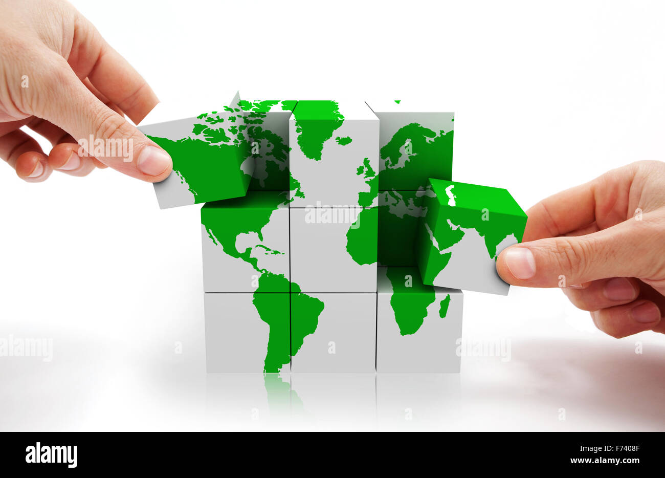 3d image of conceptual cube world map - Stock Image