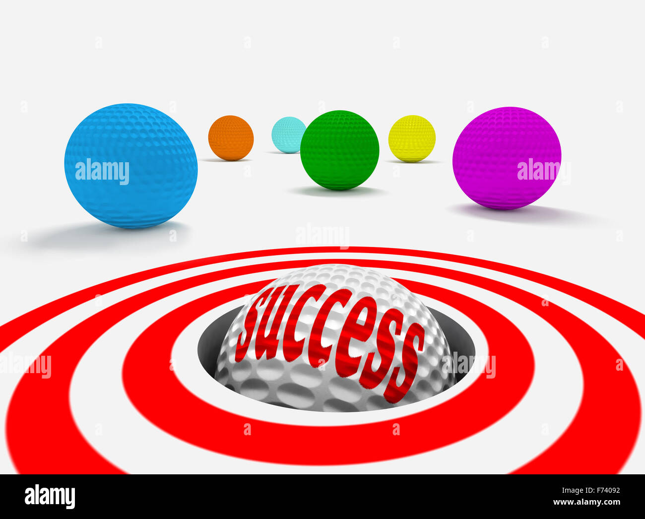 Conceptual 3d image of success with golf balls - Stock Image