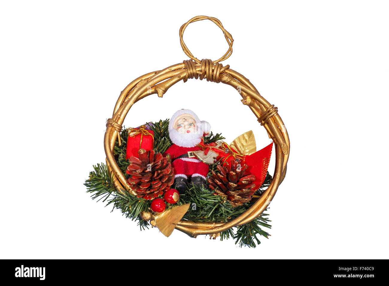 Christmas decoration with Santa Claus isolated on white Stock Photo