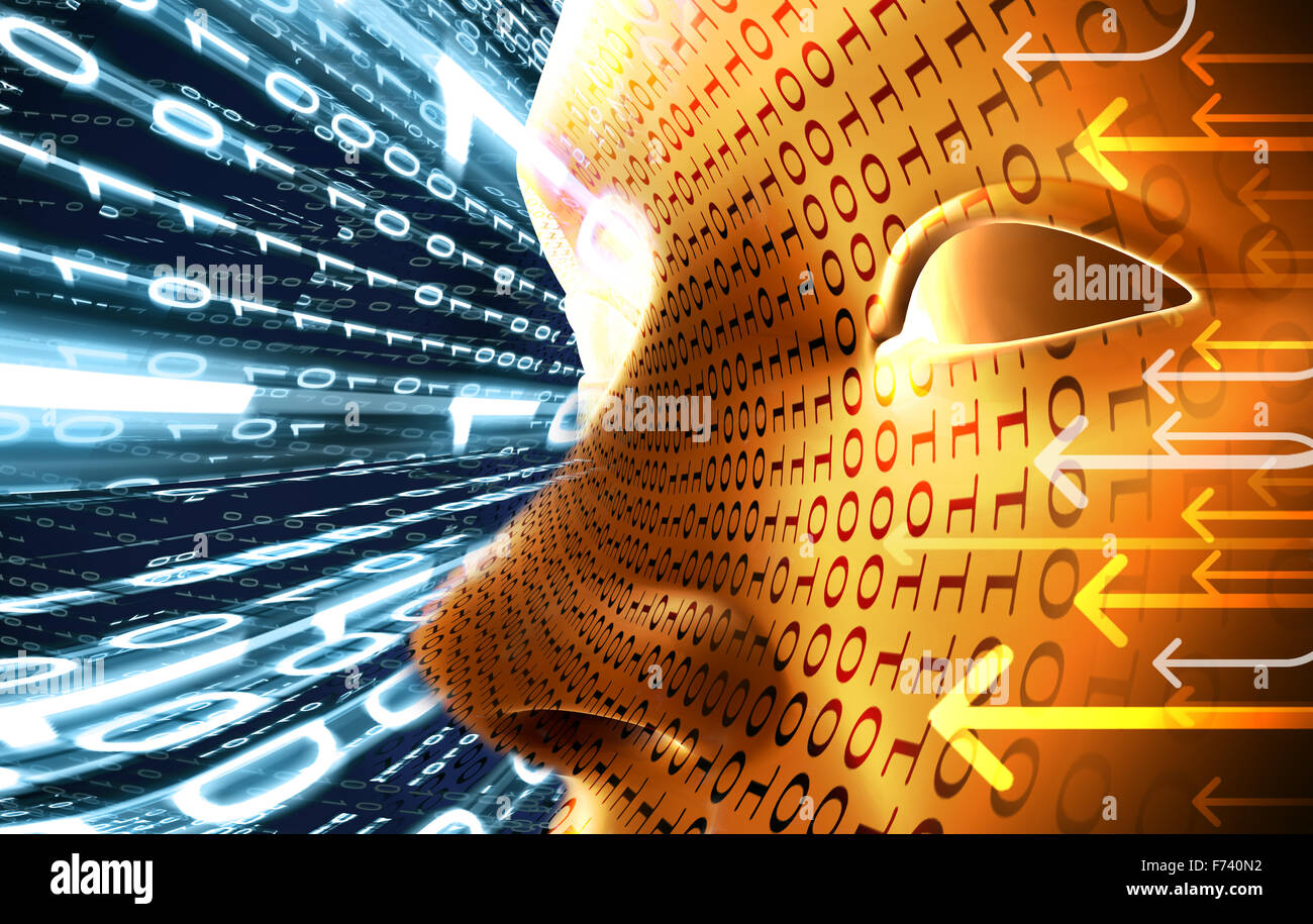 Technology concept with face and binary code - Stock Image