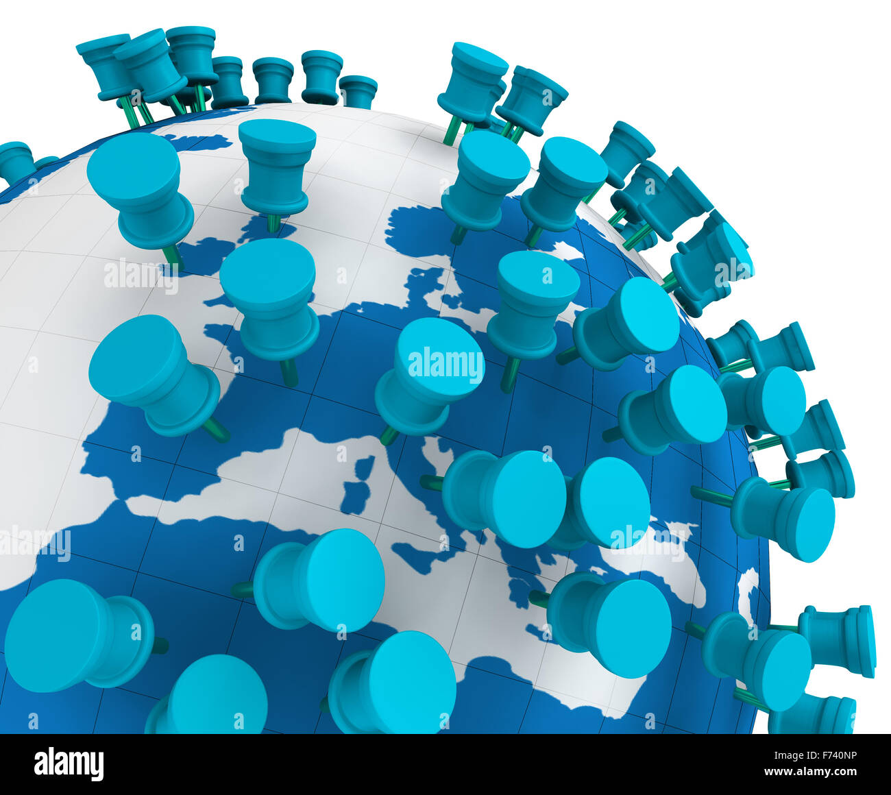 globe world map and push pins isolated in white stock photo