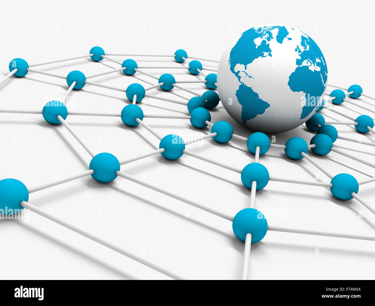 Network concept with globe world map and net Stock Photo